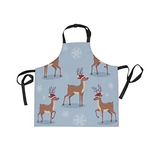 DOMIKING - Delantal unisex para mujer, diseño de reno, con bolsillos, cuello ajustable para cocinar y jardinería