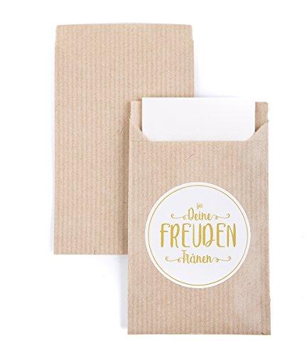 codiarts 100 stuks vreugdetranen geschenktasjes & voorgestanste stickers voor zakdoeken, vlakke zakjes, van kraftpapier voor bruiloft zakdoeken incl. stickers op rol, cadeautje, bruiloft, feest