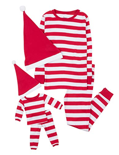 Image of Cute Santa Hat Striped Pajamas for Girls and Toddlers with Matching Doll PJs