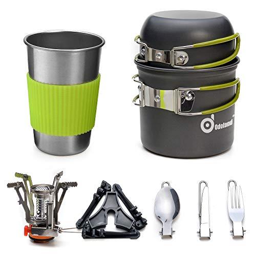Odoland Utensilios Cocina Camping Kit con Ollas Camping y Sartén de Aluminio, Estufa Trekking, Taza de Acero Inoxidable, Cubiertos Plegable - Cacerolas de Acampada de Camping y Viaje