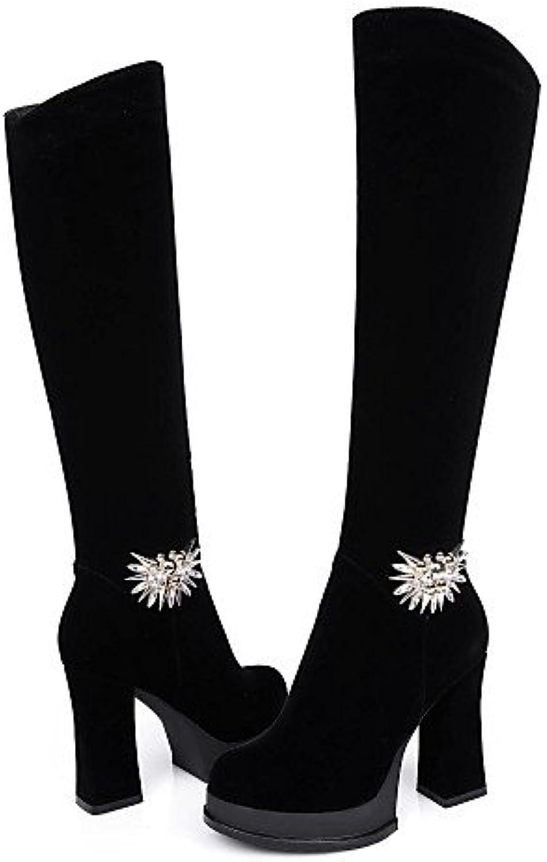 XZZ  Damenschuhe Damenschuhe Damenschuhe - Stiefel - Kleid - Vlies - Spulen Absatz - Rundeschuh   Modische Stiefel - Schwarz  8bf06e