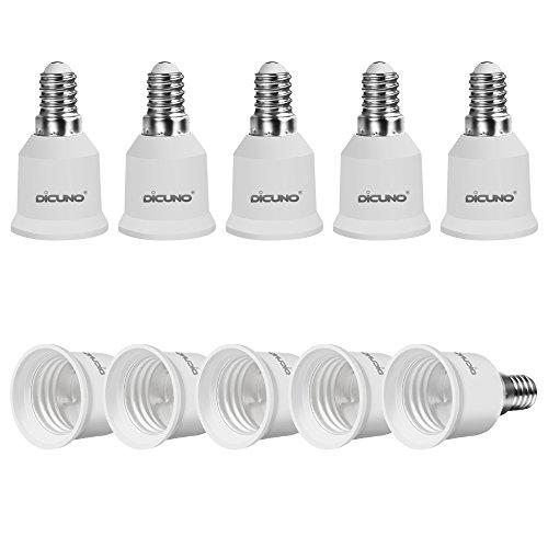 DiCUNO 10-Pack E14 a E27 Socket Converter Socket Adapter Adattatore di base per lampada di alta qualità per lampadine a LED e lampadine a incandescenza e lampadine CFL