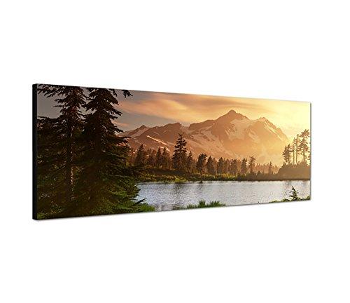 Augenblicke Wandbilder Leinwandbild als Panorama in 150x50cm Berge Schnee Waldsee Bäume Natur