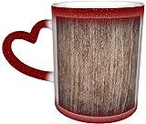 Tazza da caffè in legno con sfondo a pavimento marrone magia sensibile al calore cambia colore tazza in ceramica tazza caffè tazza di Natale regalo di compleanno