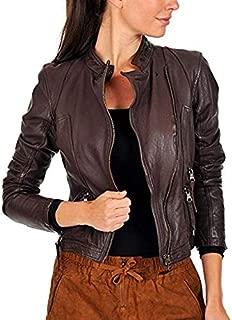 Azrah Traders Women's Lambskin Leather Moto Biker Jacket - Winter Wear