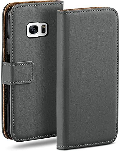 moex Klapphülle kompatibel mit Samsung Galaxy S7 Hülle klappbar, Handyhülle mit Kartenfach, 360 Grad Flip Hülle, Vegan Leder Handytasche, Dunkelgrau
