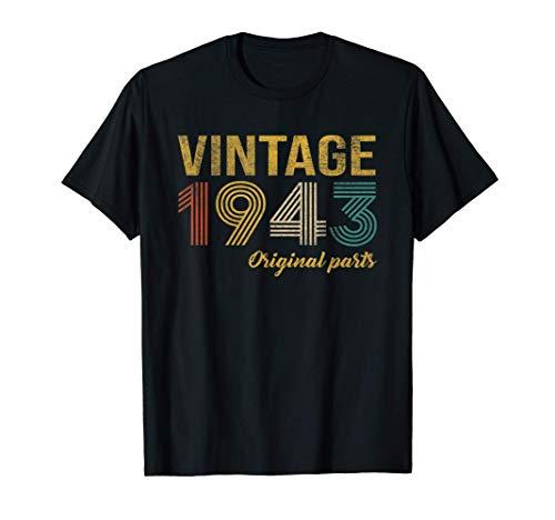 78 Anni Compleanno Donna Uomo Vintage 1943 Originale Regalo Maglietta