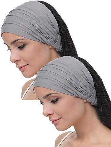 Deresina Elastisches dehnbares Stirnband, Haarband für Haarausfall (Grau)