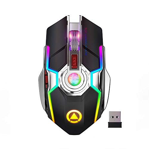 2.4GHZ 1600DPI Wireless Optical Gaming Mouse Mute USB Charging 7-Color LED Backlit Mouse Suitable for PC Laptop (Color : Black)