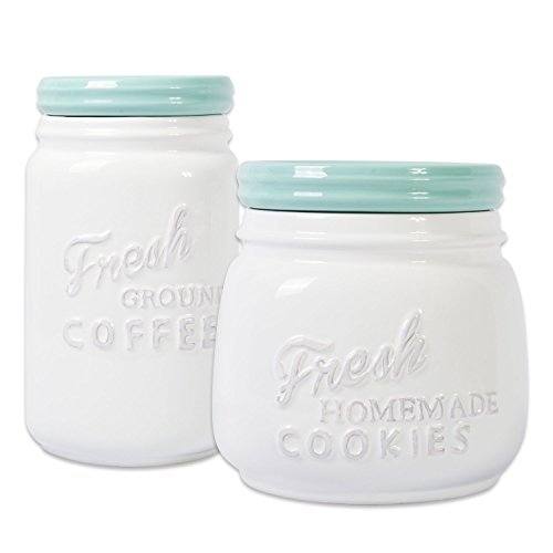 DII Ceramic Kitchen Matching Containers, (Set of 2) Aqua, Cookie Jar & Coffee Canister