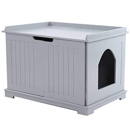 Dioche Caseta para gatos, mueble para arenero multiusos, de MDF E1, 75 x 51 x 52 cm (gris)