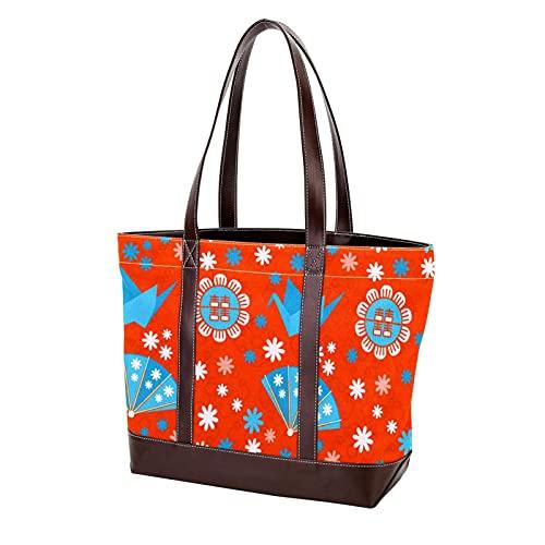 NaiiaN Bolsos para madre, mujer, niña, señoras, estudiante, monedero, compras, bandolera, bolso de mano, japonés, rojo, azul, origami, grúa, abanico de flores, correa ligera