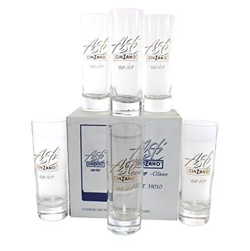 Asti Cinzano on Ice Gläser x 6 | Set Sekt-Glas geeicht 5k1l