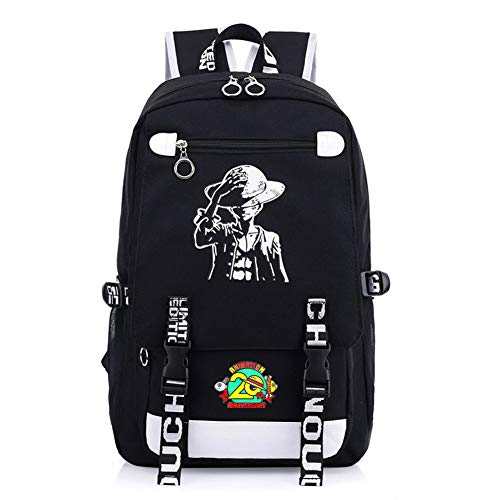 Coslive One Piece Luminous Backpack with 20th Anniversary Pin Luffy Cartoon Bookbag