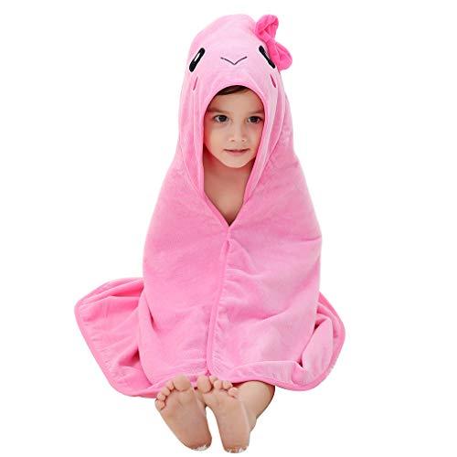 MICHLEY Asciugamano da Bagno con Cappuccio per Bambini 100% Cotone Naturale Extra Morbido, Teli da Spiaggia Ampie Dimensioni 90 * 90 cm Neonati Accappatoio 0-6 anni Meduse rosa