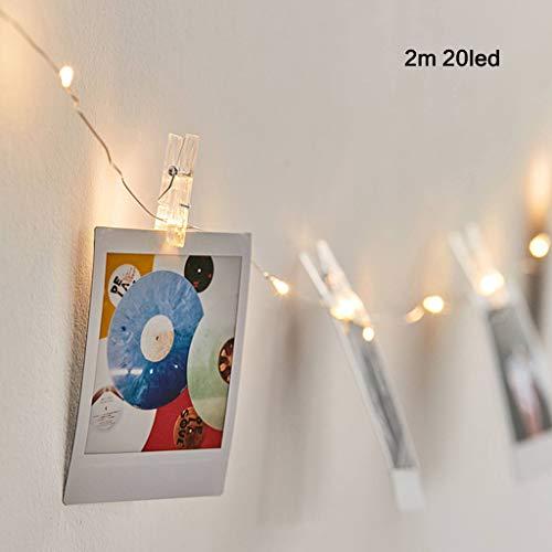 Mya - Guirnalda de luces LED para fotos de pared, portafotos con pinza para fotos, fiestas, decoración, bodas (blanco cálido), blanco, 2 m