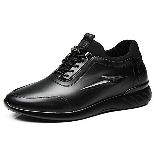 XZHFC Zapatos Casuales Aumentadas De Cuero De Los Hombres De 8cm Calzado Deportivo Transpirable Zapatos De Cuero Acentúan Black6cm-39=245mm