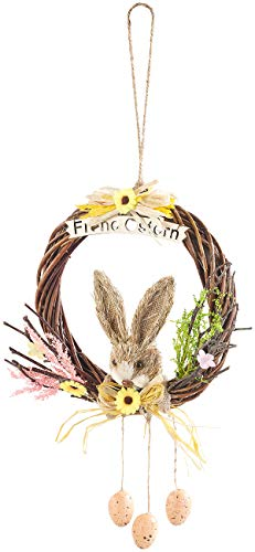 PEARL Osterkranz zum Aufhängen: Weidenkranz zum Aufhängen, mit Schriftzug Frohe Ostern und Osterdeko (Osterdeko Kranz)