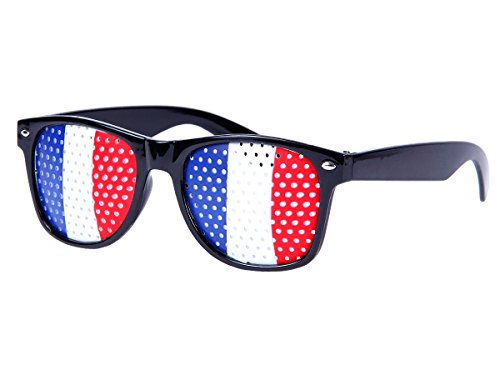 Alsino WM Lochbrille Pinehole Fanbrille Fussball Brille Länderbrille Gitterbrille Rasterbrille, wählen:V-1151 Frankreich