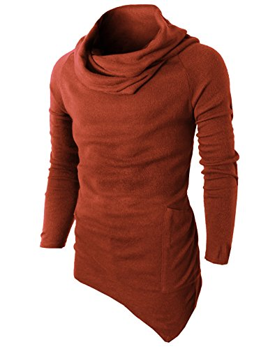 H2H Mens Fashion Turtleneck Slim Fit Pullover Sweater Oblique Line Bottom Edge DARKORAGNE US L/Asia XL (KMTTL046) DarkOrange