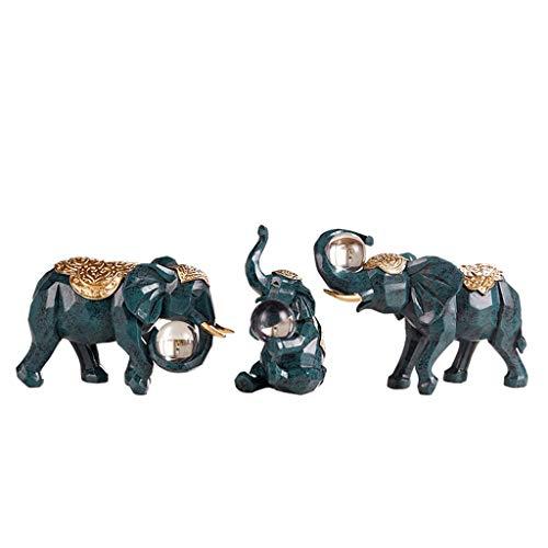 Beeldhouwbeeld Olifant Een familie Van Drie Hars Decoratie Ornamenten Home Accessoires Woonkamer TV kabinet Meubels Kristallen Bal (drie Sets) Beeldjes