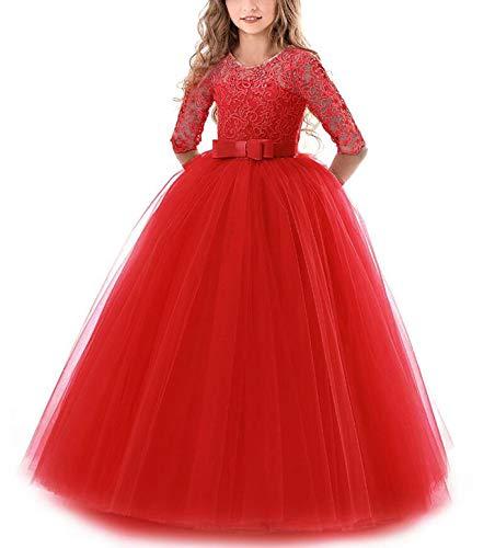 NNJXD Vestito Cerimonia Nuziale Principessa Vestito Promenade Ricamo Spettacolo Ragazze Taglia(130) 6-7 Anni 378 Rosso-A