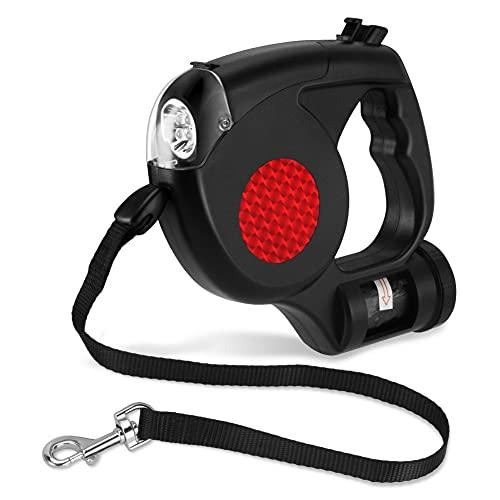Made4Pets Hundeleine mit Licht und Beutelspender & Bremse, Alles in Einem - 5 m bis 40 kg