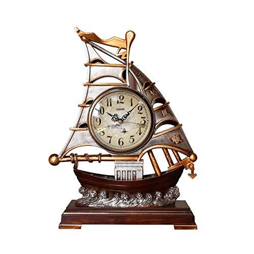 luckxuan Reloj de Mesa Creatividad Tabletop Clock Ornament Home Nostalgic Plastic Table Reloj silencioso Manta Reloj con Sweep Segundo Movimiento 15.7 Pulgadas Relojes de Escritorio (Color : A)