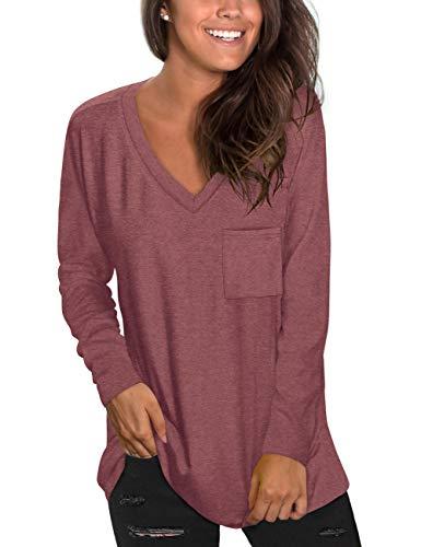 NSQTBA Womens Long Sleeve Tops for Leggings V Neck Tunic Shirts Burgundy XXL