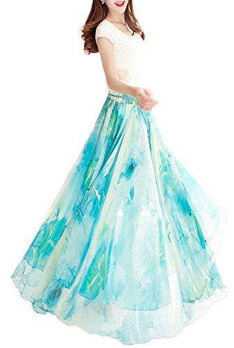 Afibi Womens Blending Chiffon Retro Long Maxi Skirt Vintage Dress (X-Large, Pattern 105)