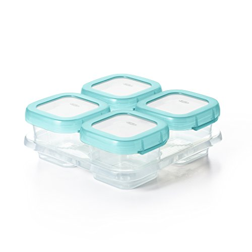 OXO Tot Baby Blocks Freezer Storage Containers, Aqua 4 Ounce