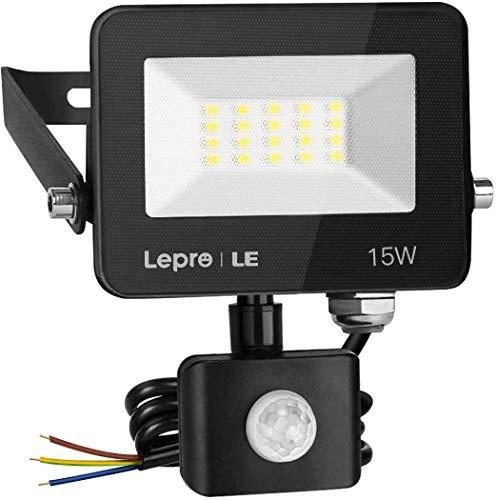Pro 15W Luces de seguridad Sensor de movimiento al aire libre, 1300 lumen PIR LUZ, IP65 Luz de inundación del sensor de movimiento a prueba de agua IP65, seguridad ultra delgada de la luz del jardín p