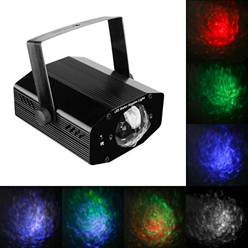 Water Wave Light Projector, RGBW 14-Color Sound Activated Disco Party Light DJ Stage Strobe Light, 3D Water Ripple Effect with Remote Control for Christmas Party Wedding Bar Decoration