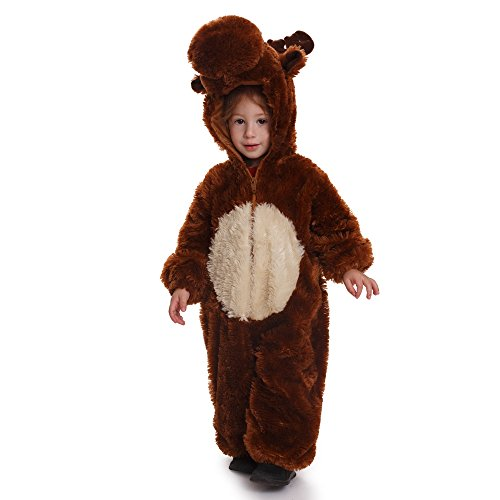Dress Up America- Kids Reindeer Jumpsuit Outfit Disfraz Reno Mono Traje, Color marrón, Talla 8-10 años (Cintura: 76-82, Altura: 114-127cm) (865-M)