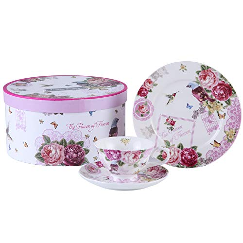 London Boutique Afternoon Tea Set 3 Coffee Tea cup and Saucer Dessert Plate Shabby Chic Vintage porcelain Gift Box (Bird Rose Butterfly)