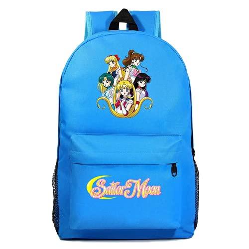 Sailor Moon Rucksack Kinderrucksack, 3D-Druck, bunte, super große Kapazität, komfortabel, Schule, Büro, Reisen, iPad, anwendbar (L-B2, 31*18*47 CM)