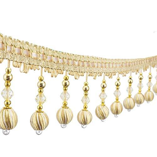 6yards Beading Fringe Tassel Trimming Curtain Lace Beads Tassel Hanging Fringe Beads Curtain Edge Lace Trim (Gold)