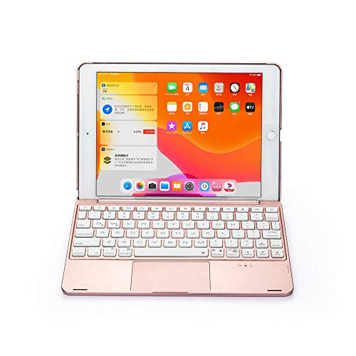 Daluo Cover with keyboard For New Ipad 9.7 2017 2018/Pro 9.7/Air 1&2 Tablet Aluminum Backlight Wireless Bluetooth Hebrew Trackpad Keyboard Case Cover (Color : Rose Gold, Size : IPad 9.7)