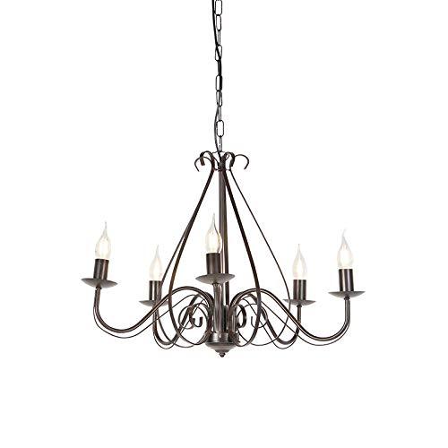 QAZQA - Landhaus | Vintage Klassischer Kronleuchter | Chandelier rostbraun 5-flammig-Licht - Giuseppe 5-flammig | Wohnzimmer | Küche - Stahl Rund - LED geeignet E14