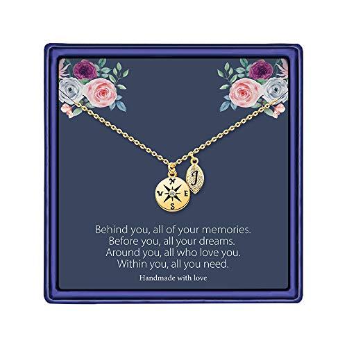 MONOOC Graduation Gifts for High School, Compass Necklace for Women Gold, Graduation Gifts for Girls Compass Best Friend Necklace J Alphabet Necklace Graduation Gift for Friend