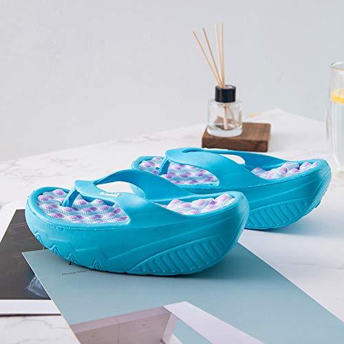 Spessa suola Ciabatte,Infradito fondo spesso,sandali spiaggia,bellissime scarpe massaggio gambe dondolo,pantofole bagno,37,Scarpa bagno asciugare
