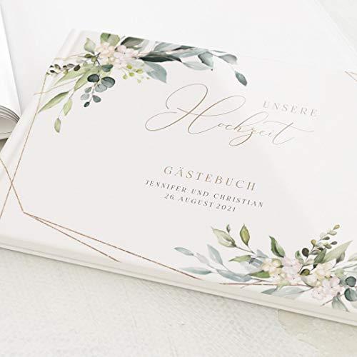 sendmoments Gästebuch für Hochzeit, Tender Florals, personalisiert mit Ihrem Wunschtext, hochwertige Blanko-Innenseiten, 32 Seiten oder mehr, Hardcover-Buch, Querformat - Floral Botanik