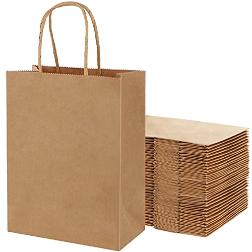 AN HUI MING 18 Bolsas de Papel Kraft,Bolsas de Papel con Asas,Bolsas de Regalo Grandes,Bolsas de Papel Marrón,Bolsa Papel para Regalos de Fiesta(23 * 12 * 30 cm)
