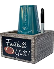 """Rustic Solo Cup Holder w/Marker Slot, Large """"Mark Your Cup & Drink Up"""" Solo Cup Holder w/Erasable Chalkboard + Chalk Marker Included – Solo Drink Cup Holder for Party, Home & Office"""