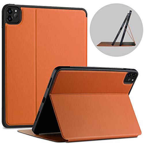 X-level Case for iPad Pro 11 2020 with Pencil Holder, [Fibcolor Serie] Soft Flexible TPU Back Cover, Auto Sleep/Wake, Multiple Viewing Stand Modes Smart Cover for iPad Pro 11 2020, Brown