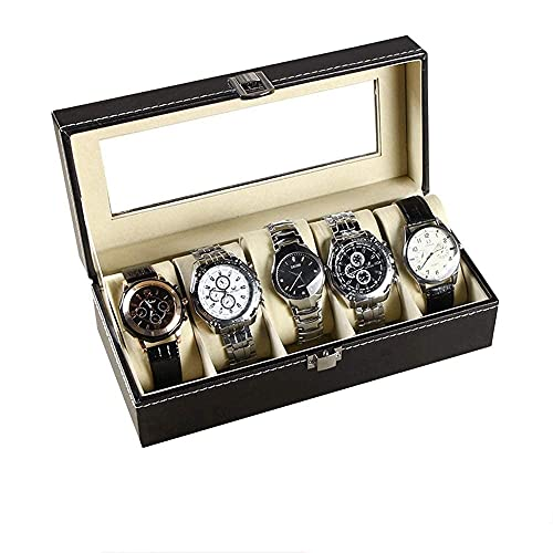 Bella Caja de almacenamiento de joyas organizador 5 cuadrícula de cuero reloj de almacenamiento de cuero unisex mano joyería caja de vidrio caja de pantalla negro caja de revestimiento caja de trinket