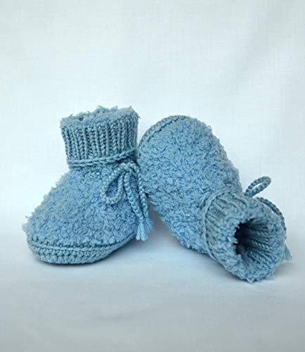 gestrickte Babyschuhe mit elastischem Strickbündchen, in vielen Farben, Babyschühchen aus Baby-Plüschwolle