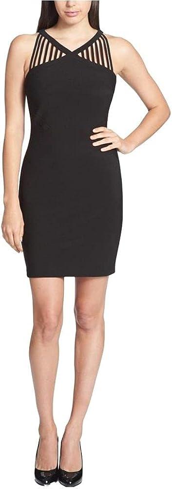 GUESS Women's Strappy Neck Sheath Bodycon Dress Black Size 8