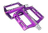 Evetin Flat Ultra-Light - Pedales para Bicicleta de Carreras, aleación de Aluminio, Color Morado