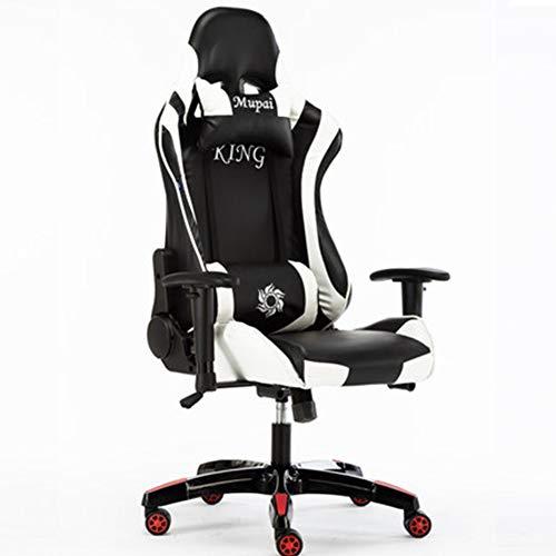 HEIFEN E-Sport-Stuhl, lehnendes lumbales Kissen, Nackenkissen, laufender Art-Stuhl, Mikrofaser-Ledermaterial, 90 ° ~ 180 ° lehnende Rückseite, kaltes Gewehr-Schwamm-Kissen, 360 Grad-Rotation White